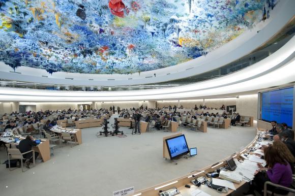Ihmisoikeusneuvoston istunto Genevessä UPR-tarkastelun aikaan vuonna 2012.