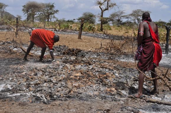 Vuoden 2015 alussa poltettuja koteja Arahsin ja Loosoiton/Maalonin alueella. (Kuva: InsightShare)
