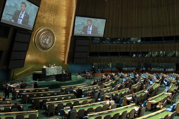 YK:n yleiskokouksen istuntosali New Yorkissa. Kuva: UN Photo