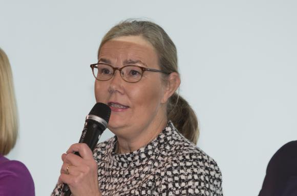 Liisa Rohweder YK-liiton paneelikeskustelussa YK:n päivänä.